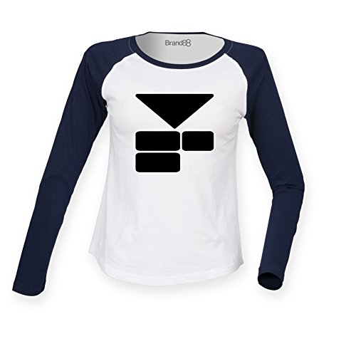 Brand88 - Starman Chest, (Left Breast), Damen Langarm Baseball T-Shirt Weiss & Blau