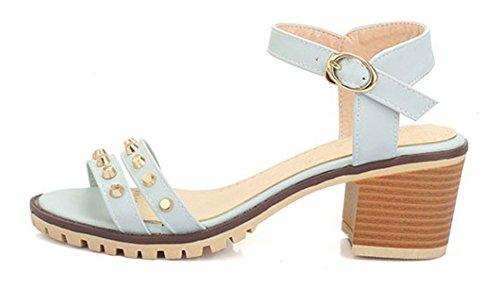 Aisun Femme Confort Talon Bloc Moyen Rivets Sandales Avec Boucle Bleu