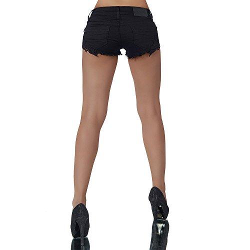 L010 Damen Jeans kurze Hose Damenjeans Hüftjeans Hot Pants Shorts Panty Schwarz