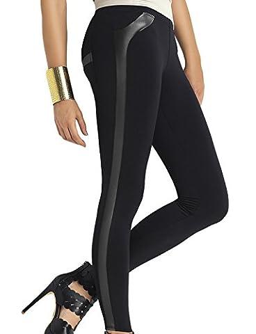 Trendy Legs Plush Gabriela Legging Feminin Top Qualité Peluche Bicolore- Fabriqué En UE, noir,M