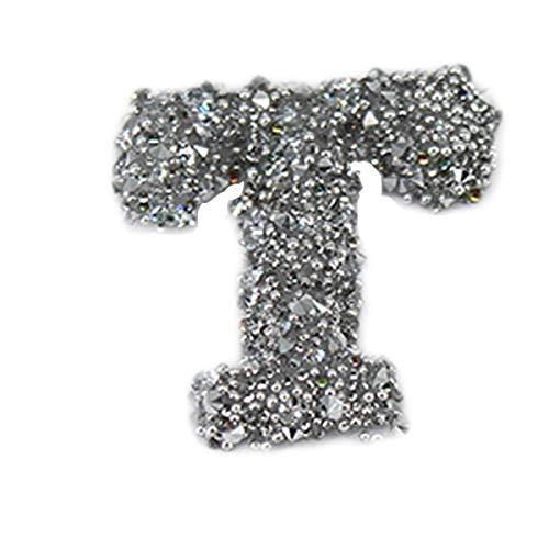 Weddecor Groß Silber Alphabet Buchstabe Sticker Glitzer Aufkleber A - Z Hot Fixierung Aufkleber für Scrapbooking, Geschenke, Wohndekor, Kunst, Kleidung, Grußkarten, 3.5mm, 1 Stück - Buchstabe T, 1pc (Scrapbooking-aufkleber Buchstaben)