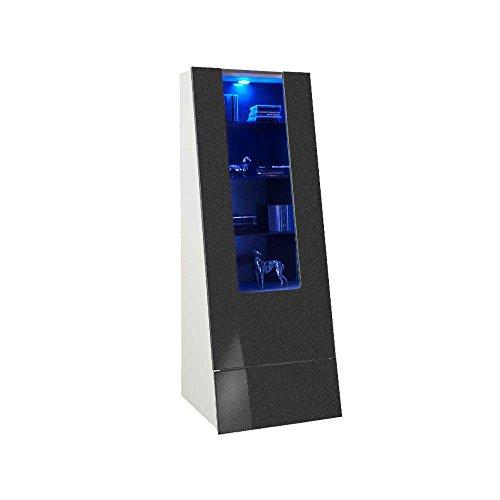 Wohnwand in Anthrazit Hochglanz modern (4-teilig) Beleuchtung Wechsellicht Pharao24 - 4