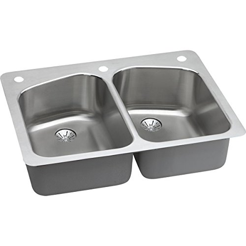 Elkay LKHSR33229PD2R 18 Gauge Stainless Steel 33 x 22 x 9 Double Bowl Dual/Universal Mount Kitchen Sink Kit by Elkay