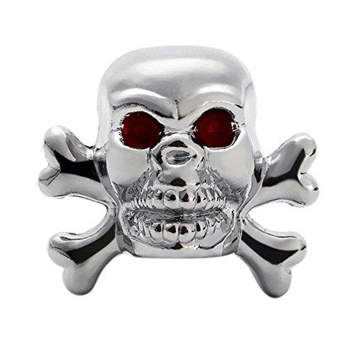 Cool Universal Car Truck Bike Skull Tire air Valve Stem Caps Wheel Rims Silver