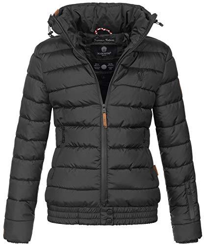 Marikoo Damen Winter Jacke Stepp Winterjacke Stehkragen gefüttert warm B667 [B667-Poiso-Schwarz-Gr.XL]