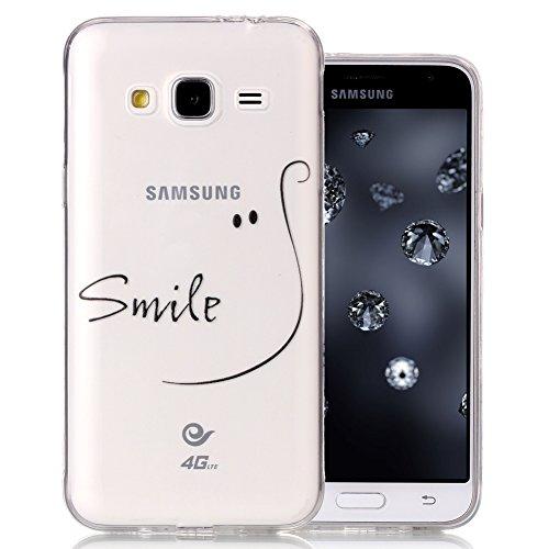 Preisvergleich Produktbild Silikonhülle für Samsung J3 (2016), Aeeque Ultradünn Weich Klassisch Schwarzen Smile Wort Muster Gel Flexibel Handy Schützt Hülle Tasche Slimcase Backcover für Samsung Galaxy J3 SM-J310 2016
