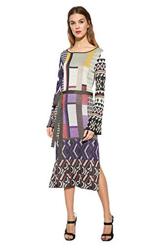 Desigual buntes schmales Boho/Hippie Damen Strickkleid Vest Celeste, Größe:XL