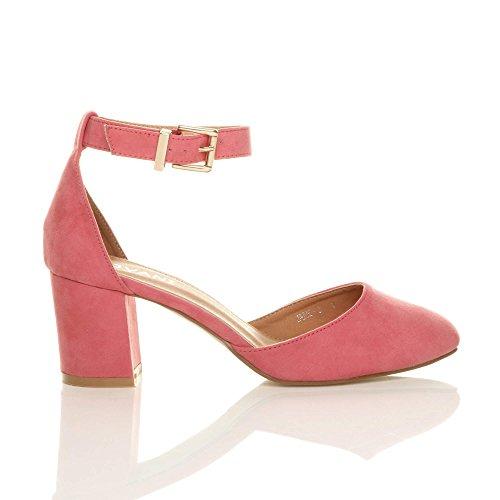 Cinturino Corallo Sandali Donna Rosa Elegante Tacco Taglia Caviglia Pelle Alla Fibbia In Medio Scamosciata qCEOCa