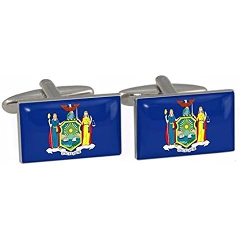 New York, USA, motivo: bandiera dello Stato Cuff-Daddy-Gemelli in confezione regalo