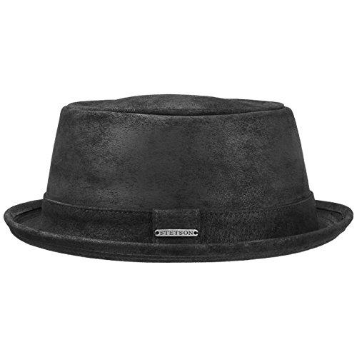 Stetson Pennsylvania Pigskin Leder Porkpie Hut schwarz Herren | Lederhut aus Schweinsleder |...