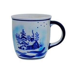 Boleslawiec Pottery Mug with round handles, 0.35 L, Original Bunzlauer Keramik, winter landscape, Decor DU11