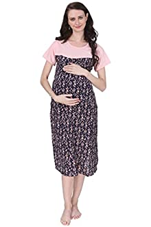 25e7f5410a2 Vixenwrap Coral Pink and Blue Printed A-Line Maternity Gown(XXL Pink)