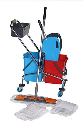 CleanSV® Laschenmop Wischset 50 Chrom Reinigungswagen mit Deichselschale, Laschenmop Set 50 cm: 3 Laschen Baumwollmop/Wischmop 50 cm, einen 50 cm Lamo Mophalter, Profi Telekopstiel
