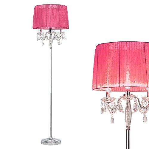 [lux.pro] Stehleuchte Stehlampe (3 x E14 Sockel)(165 cm x 45 cm) Chromfuss + Stoffschirm pink + Kristallbehang Lampe Wohnzimmerlampe Leuchte...