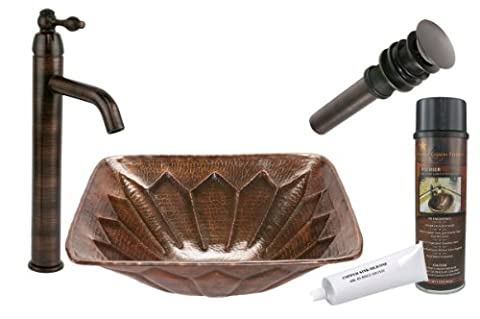 Premier Copper Products BSP1_VS16FDB Square Feathered Vessel Hammered Copper Sink with Single Handle Vessel Faucet, Oil Rubbed Bronze by Premier Copper