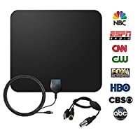 TV Antenna, JmeGe RG174 Indoor Amplified HDTV Antenna 50 Mile Range with Detachable Amplifier Signal Booster, USB Power Supply and 16.5FT High Performance Coaxial Cable - Black