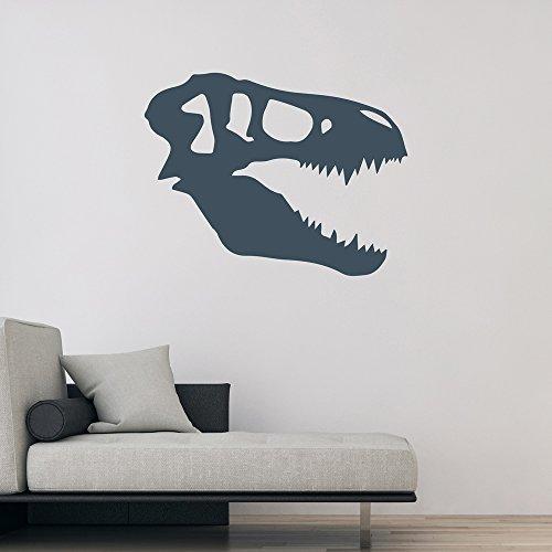 Silueta del cráneo del dinosaurio T-Rex Pegatinas de Pared dormitorio de los niños del arte en las etiquetas disponible en 5 tamaños y 25 colores Grande Borgoña
