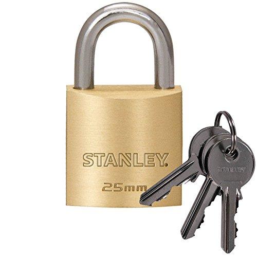 STANLEY Solid Brass Vorhangschloss 25 mm mit Standard-Bügel,3 Schlüssel, S742-029, Schloss, Bügelschloss -