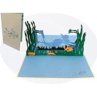 """Lin, """"Diver"""" pop-up Greeting Card, Birthday Card, Present Card"""