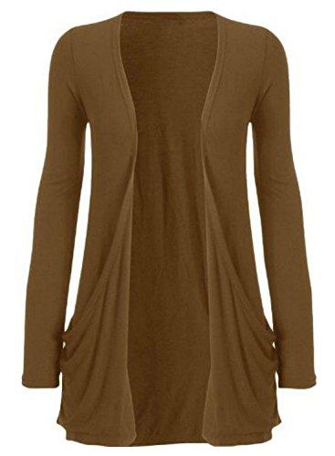 Damen Strickjacke, offen, lockere Taschen, große Größen, Gr. 46-56 Gr. xl, mokka Luxe Blouson