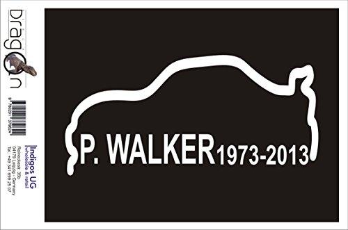 INDIGOS UG Aufkleber Autoaufkleber - JDM Die Cut Auto OEM - P.Walker 1973-2013 - 210x100mm weiß - Auto Laptop Tuning Sticker Heckscheibe LKW Boot -