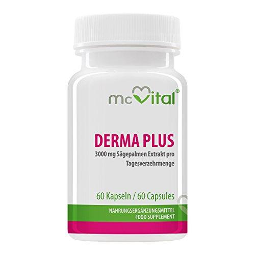 Derma Plus - gegen Akne - mit 3000 mg Sägepalmen Extrakt - Sonnenschutz - Mitesser - gegen Pickel - 60 Kapseln