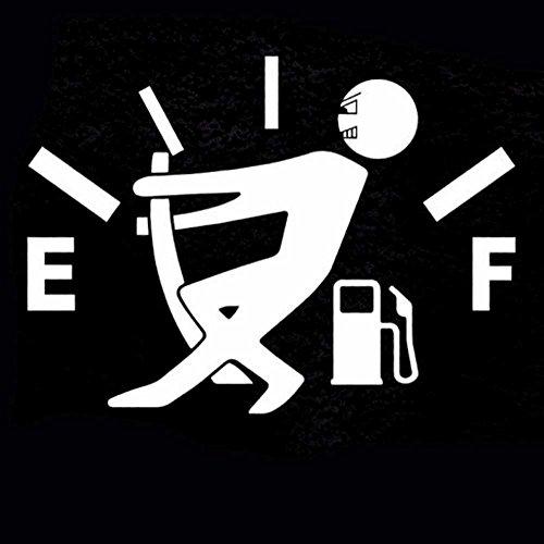 Adesivo sticker omino alza LANCETTA BENZINA carburante auto car tuning BIANCO