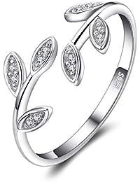 fa3c66e6db64 Jewelrypalace Hoja de olivo Zirconia cúbica Anillo abierto ajustable Plata  de ley 925