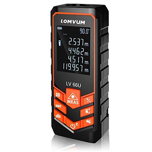 Laser Entfernungsmesser Distanz 120M,LOMVUM Laser Messgerät Entfernung Messen Sie Entfernung, Fläche und Volumen,Pythagoras