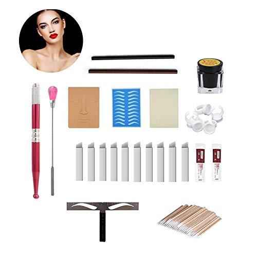 Augenbraue Microblading Kit, Tattoo Stift Augenbrauen Lippen Make-up Praxis Haut Nadeln Pigment Augenbraue Herrscher