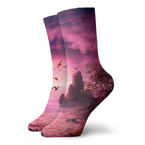 yting Möwe Vögel Boot Landschaft lila Sonnenuntergang lässig Baumwolle Socken Unisex Sportsocken. -