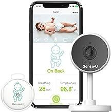 Sense-U Video Monitor - Dispositivo para la monitorización de la respiración, los giros y la temperatura corporal del bebé con cámara 1080P HD, WiFi, audio, visión nocturna, sensores de movimiento