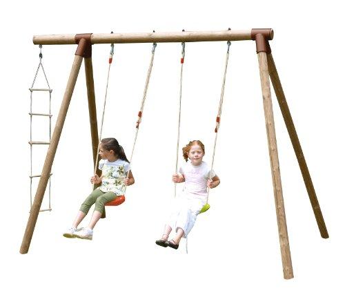 """New Plast ALS1349–Columpio de madera """"Fiordaliso"""":2columpios con escalera de cuerda"""