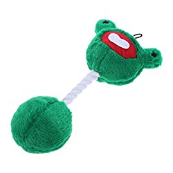 Rrimin Cartoon Frog Shape Pet Plush Toy Dog Cat Bite Squeaker Chew Rope Sound Toys