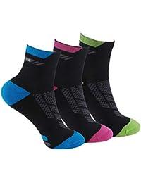Calcetines (3 Pares) de RUNNING, CICLISMO, TENIS, PADEL,… Calcetines de mujer SIN COSTURAS con puntera y talón reforzados. Calcetines…