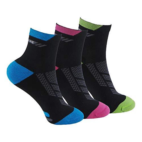 Calcetines (3 Pares) de RUNNING, CICLISMO, TENIS, PADEL,... Calcetines de mujer SIN COSTURAS con puntera y talón reforzados. Calcetines tobilleros de deporte. Anti-rozaduras y con gomas anti-presión.