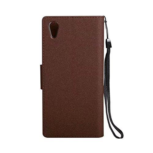 Abnehmbare 2 in 1 PU + TPU Ledertasche geprägte Blumen Stil glänzende Sparkles Brieftasche Stand Case Cover mit Kreditkarte Slots & Lanyard & Magnetic Closure für Sony Xperia XA1 ( Color : Rose gold ) Brown
