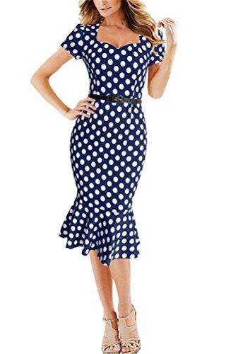Brinny Sexy Col V Femme Rétro Vintage Polka Dot Robe zipper Slim Fit Queue de Poisson party dress 4 Couleur 5 Tailles Bleu