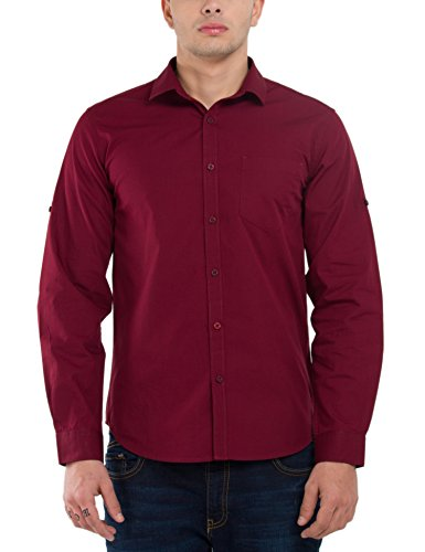 Highlander Men's Casual Shirt (13110001465381_HLSH008920_X-Large_Maroon)  available at amazon for Rs.399