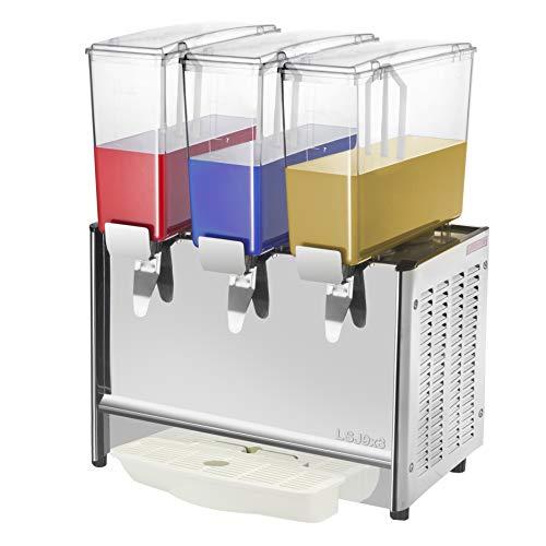 PrimeMatik JU003-VCES Máquina dispensadora de zumos y Bebidas frías comerciales de 9L x 3 Tanques (JU003)