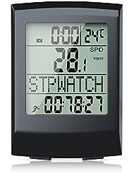 CSL - Fahrradcomputer kabellos | Fahrradtacho / Radcomputer / Tachometer | 13 Funktionen / Temperaturanzeige in °C | Reed-Sensor | inkl. Befestigungsmaterial | Hintergrundbeleuchtung | IP65