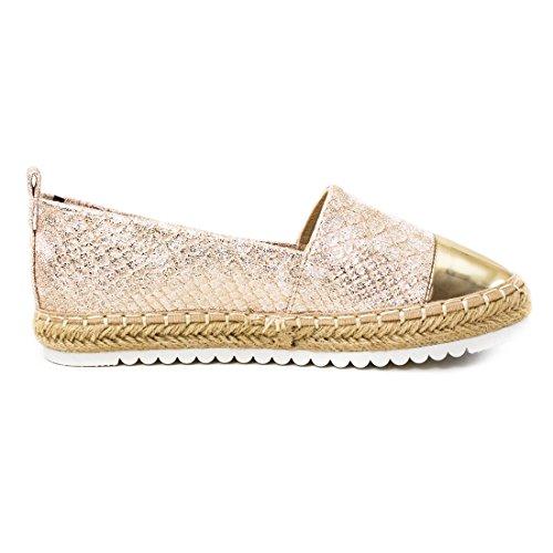 Marimo Damen Espadrilles Low Top Sommer Slipper Sneaker Metallic Lederoptik Y-Golden Metallic
