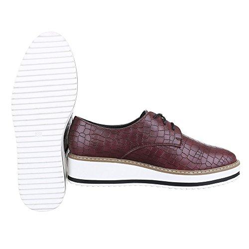 Ital-Design Schnürer Damen Schuhe Oxford Schnürer Schnürsenkel Halbschuhe Braun Rot