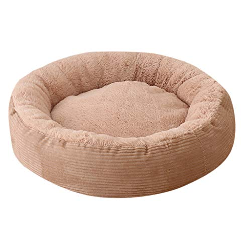 Amphia - Herbst- und Winterhaustier,Haustier Hund Katze Bett Welpen Kissen Haus weich warm Kennel Pet Produkte (Durchmesser 40cm hoch 15cm,Khaki)