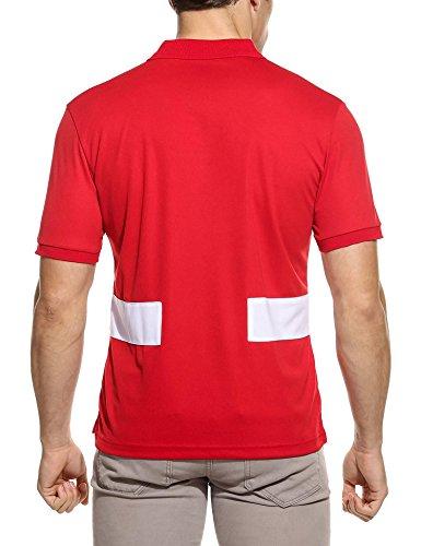 ZEARO Herren drehen unten Kragen Kurzarm Patchwork Casual Sport Polo Shirt Rot