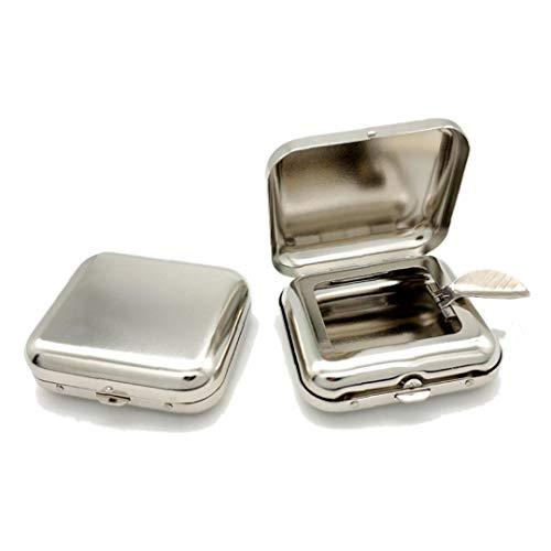BYFRI Llevar fácilmente Metal Mini cenicero Cuadrado