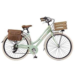 Via Veneto by Canellini Bici Bicicletta retrò Vintage Alluminio Donna con Cassetta + Borse + Campanello Via Veneto (46, Verde Chiaro)
