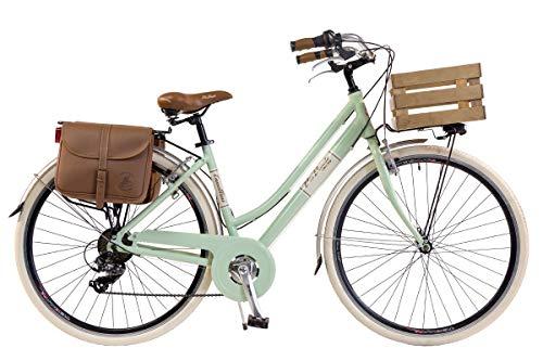Via Veneto by Canellini Damen Citybike CTB Vintage Stil Rad Cityrad Fahrrader Bike Aluminium mit Korb Kassette (Hellgrun, 46)