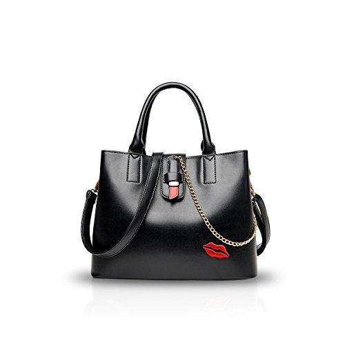 NICOLE&DORIS Mode Frau Crossbody Lippe Tasche Tote Handtasche Schultertasche PU Schwarz (Medium Tote Bag Handtasche)