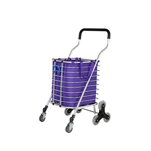 WOAINI 8 Räder Treppensteigen Einkaufswagen Trolley Aluminium-Dreirad-Lieferwagen Leicht Faltbar - Lila